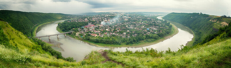 top view of the river Dniester and the city Zalishchyky