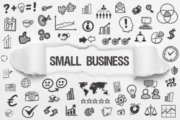 Small Business / weißes Papier mit Symbole