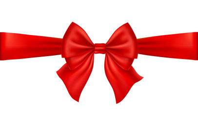 Realistic red bow isolated on white background. Ribbon.