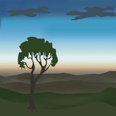 Дерево, горы и рассвет