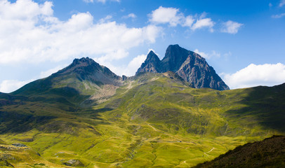 Mountain scenery in sun light. Pyrenees, France