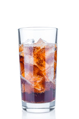 Glass with fizzy cola and ice cubes on white background