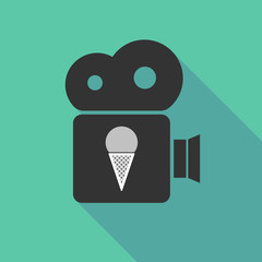 Long shadow cinema camera with a cone ice cream