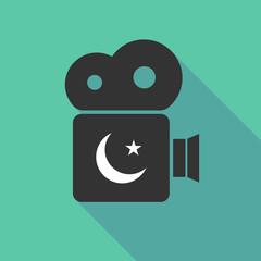 Long shadow cinema camera with an islam sign