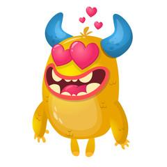 Cartoon yellow horned monster in love. St Valentines vector illustration of  loving monster