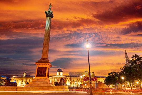 London Trafalgar Square sunset Nelson column
