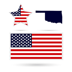 Map of the U.S. state of Oklahoma on a white background. America
