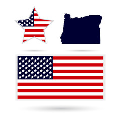 Map of the U.S. state of Oregon on a white background. American