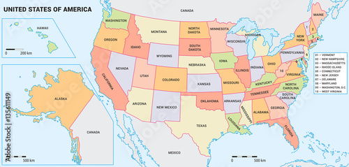 USA Map With Federal States Including Alaska And Hawaii United - The united states hawaii alaska map