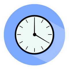 Clock icon, illustration of a flat design with long shadow.  blue clock