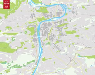 Vector color map of  Prague, Czech Republic. City Plan of  Pragu