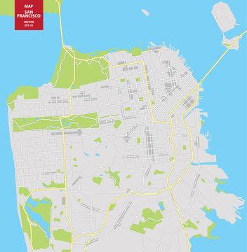 Vector color map of San Francisco, USA. City Plan of San Francisco. Vector illustration