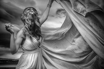 Virgin greek virgin, beautiful blond woman in white silk dress i
