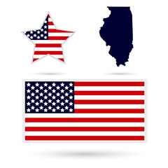 Map of the U.S. state of Illinois on a white background. America