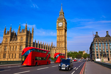 Spoed Foto op Canvas Londen rode bus Big Ben Clock Tower and London Bus