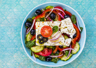 Choriatiki - Greek salad with feta cheese. Mediterranean cuisine.