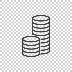 Money icon. Black coins flat vector illustration