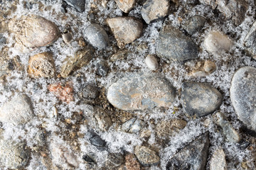 ice on the stone ground as a background