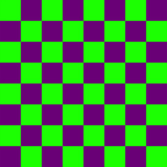 Purple and green Chess board 8 by 8 grid, High resolution background and 3D repeatable texture