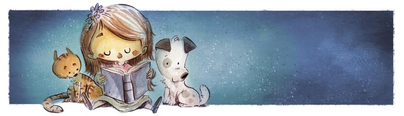 niña leyendo con perro y gato
