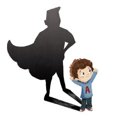 Niño superheroe. Niño fuerte y valiente