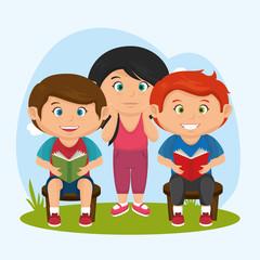 cute little kids character vector illustration design