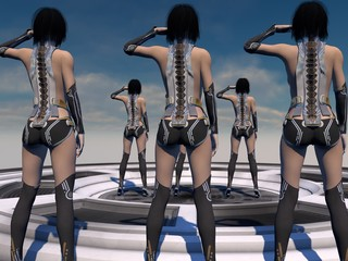 Sexy Female Android Soldiers 3D Rendering