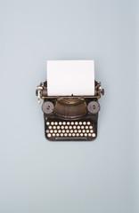 top view retro typewriter banner
