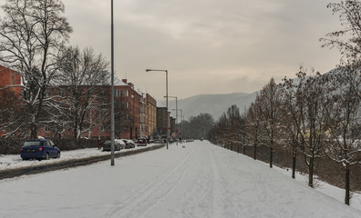 Winter and snow in Usti nad Labem city