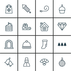 Set Of 16 New Year Icons. Includes Christmas Ball, Knitted Cap, Brilliant And Other Symbols. Beautiful Design Elements.