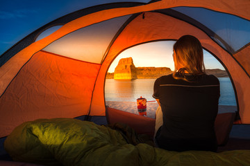 Cooking at Sunset Tent Camping Lone Rock Lake Powell