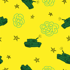 Yellow and green tank seamless  pattern. Defender of the Fatherland Day