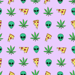 Trippy vector seamless pattern with marijuana leafs, pizza slices and aliens