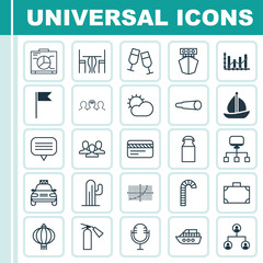 Set Of 25 Universal Editable Icons. Can Be Used For Web, Mobile And App Design. Includes Elements Such As Fire Extinguisher, Dining Room, Boat And More.