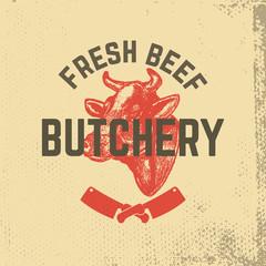 fresh beef. Butchery. Hand drawn cow head on grunge background.