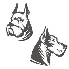 Dog head illustration isolated on white background. Design eleme