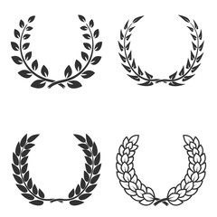 Set of laurel wreaths isolated on white background. Design eleme