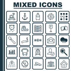 Set Of 25 Universal Editable Icons. Can Be Used For Web, Mobile And App Design. Includes Elements Such As Ship Hook, Greeting Email, Collaborative Solution And More.
