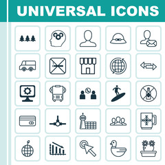Set Of 25 Universal Editable Icons. Can Be Used For Web, Mobile And App Design. Includes Elements Such As Boardsports, Web Profile, Fail Graph And More.
