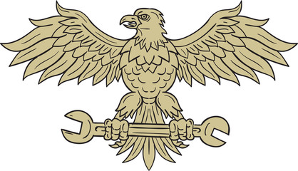 American Eagle Clutching Spanner Drawing