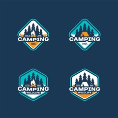 Set of emblems on the themes of wildlife, adventure and camping. Vector logo.