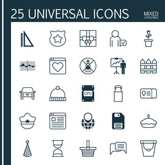 Set Of 25 Universal Editable Icons. Can Be Used For Web, Mobile And App Design. Includes Elements Such As Trip Access, Pail, Barrier And More.