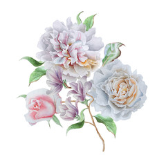 Watercolor bouquet with flowers. Rose. Peony.