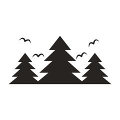 forest landscape frame emblem vector illustration design