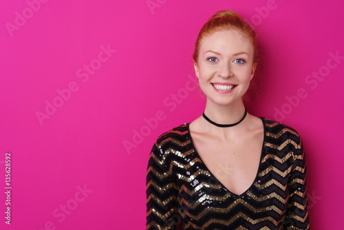 attraktive lachen frau im party outfit stock photo and. Black Bedroom Furniture Sets. Home Design Ideas