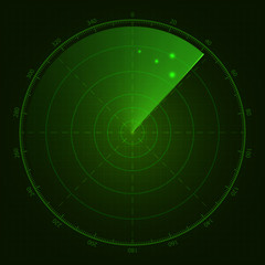 Digital green radar with targets on monitor. Isolated on black b