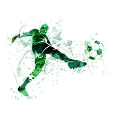 Vector illustration of a football player with the ball