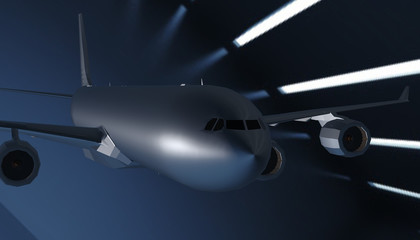 3d render of airplane on background
