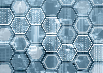 Blockchain or digitization blue and grey background with hexagonal shaped pattern