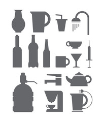 Set of black icons with devices for water.